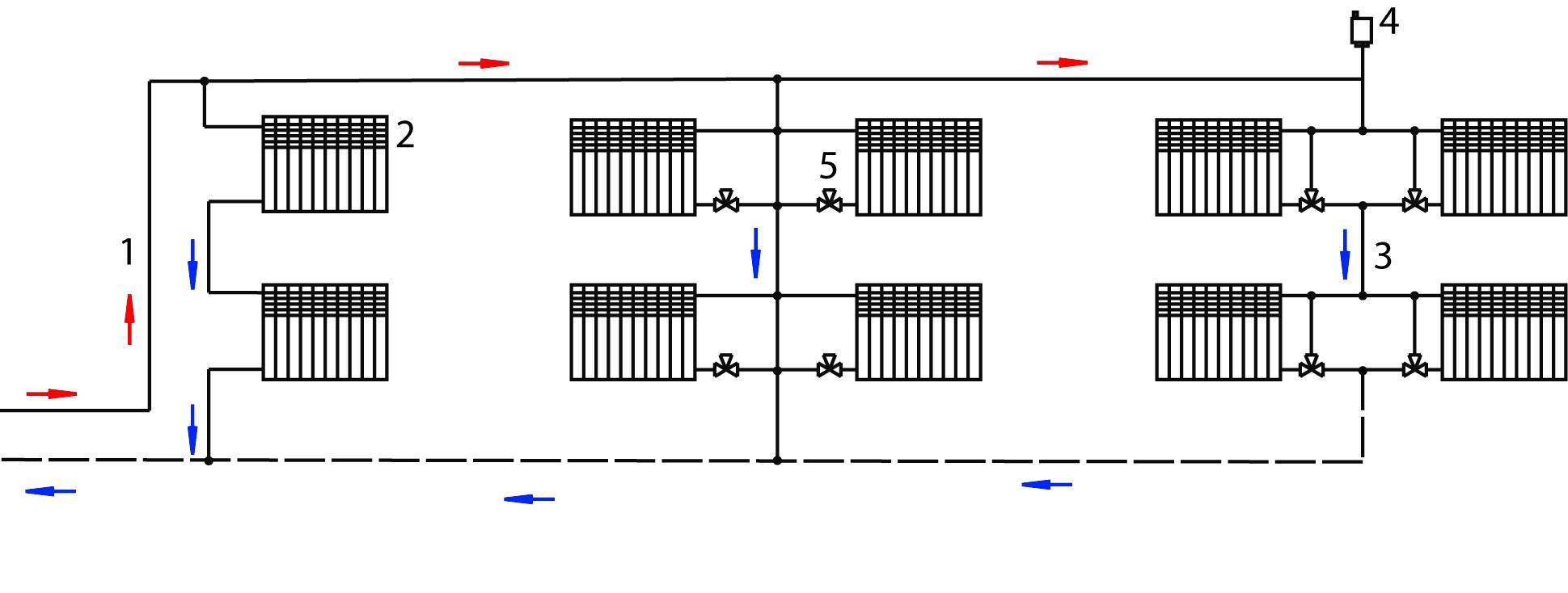 Отопление 2 этажного дома схема с естественной циркуляцией