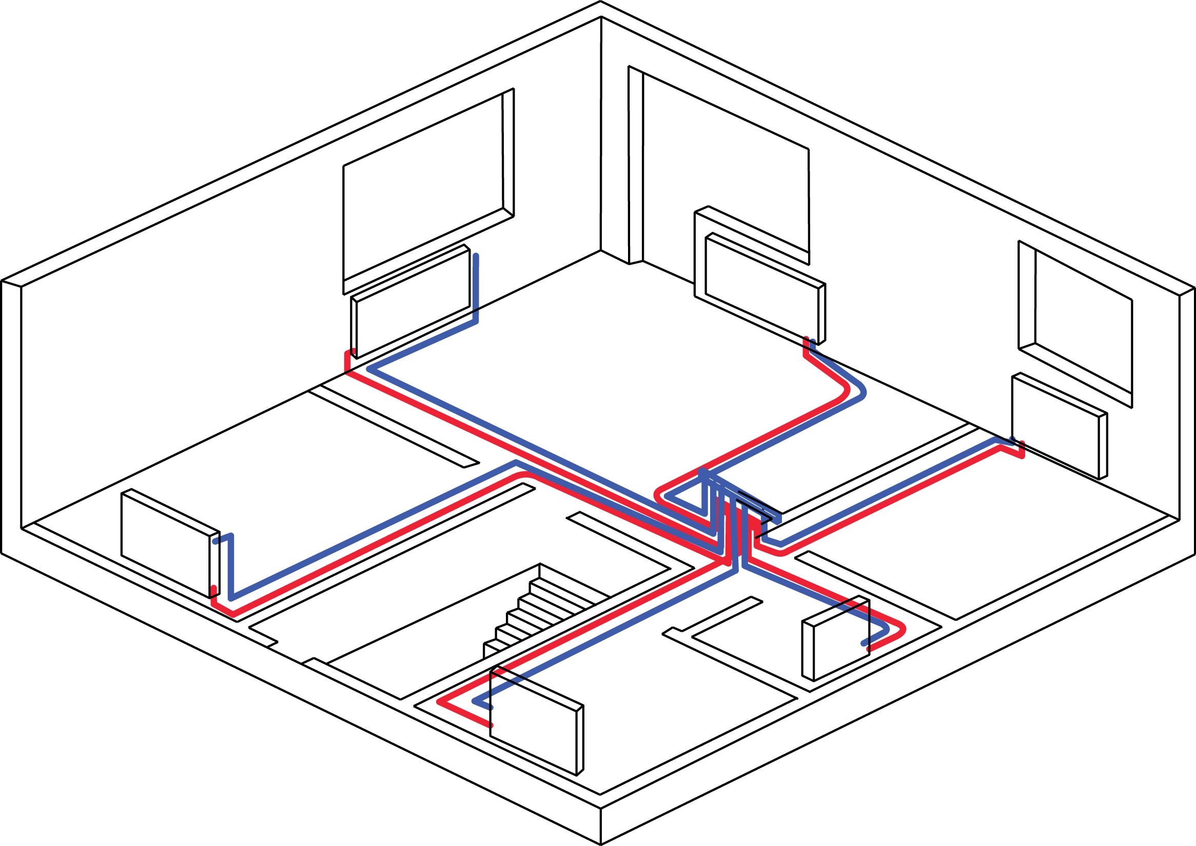 Рис. 8. Схема горизонтальной двухтрубной коллекторной системы отопления.